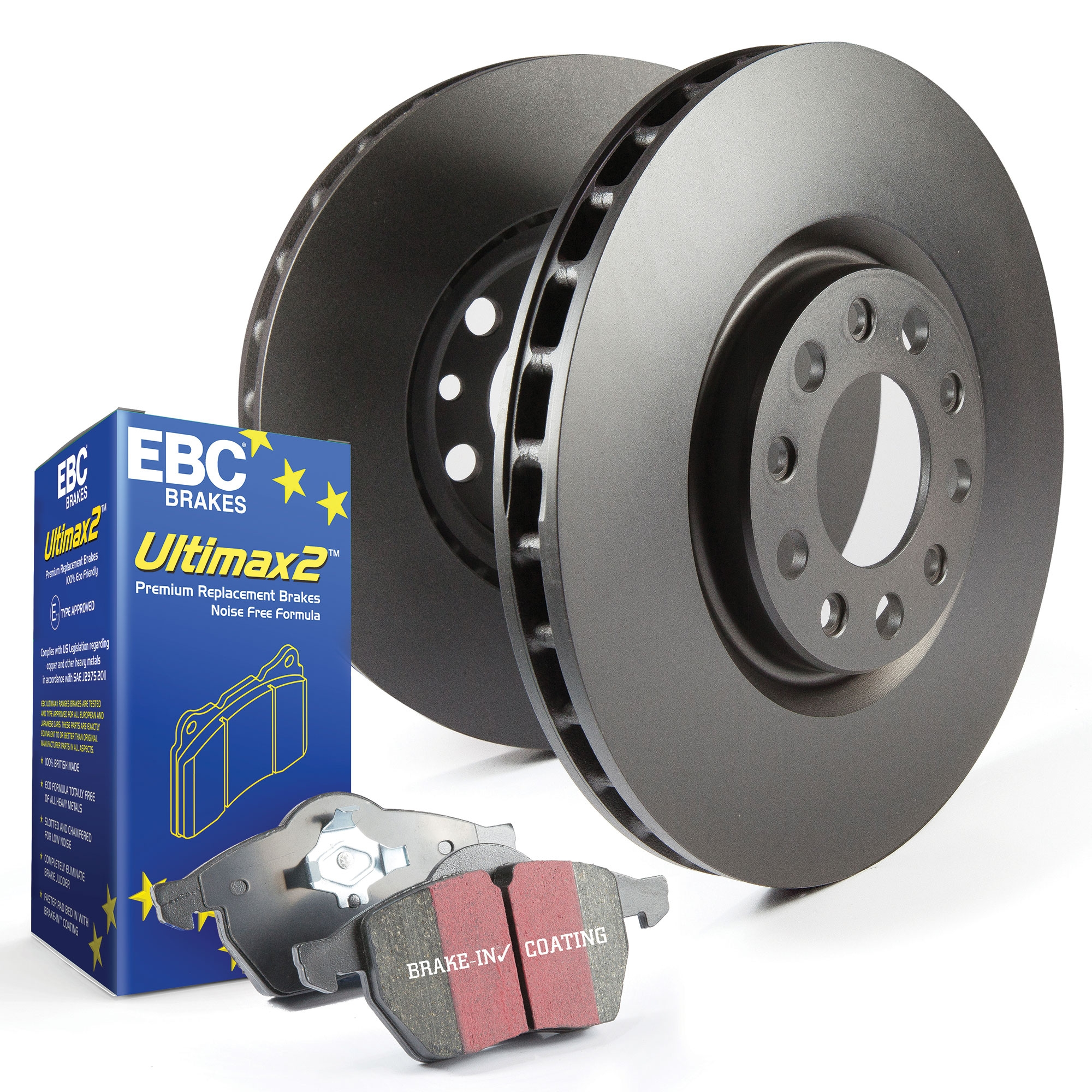 PDKF1403 EBC Front OE//OEM Replacement Brake Discs and Ultimax Pads Kit